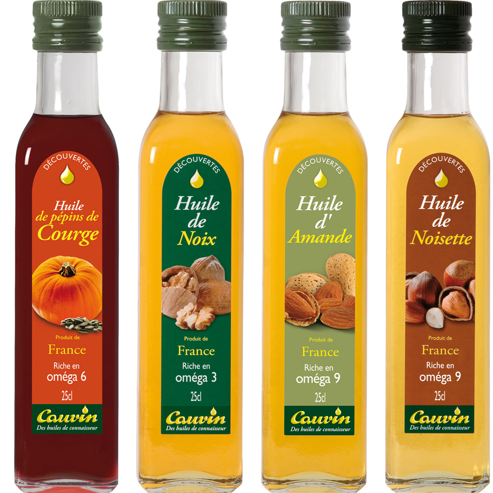 Oleje tekvicový, z vlašských orechov, mandľový a z lieskových orechov